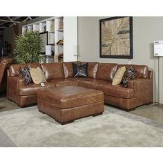 Chesterfield Sofa Vincenzo Piece Sectional in Nutmeg Nebraska Furniture Mart