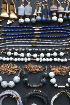 Necklace and bracelet samples with lapis lazuli, jasper, moonstone