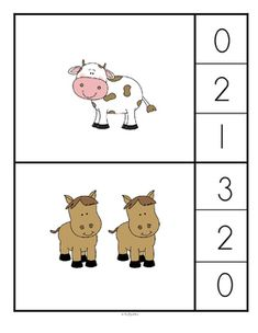 Farm Animals Count and Clip Cards Preschool Education, Preschool Learning Activities, Kindergarten Worksheets, Preschool Activities, Farm Animals For Kids, Farm Lessons, Numbers Preschool, Learning Colors, 21 Cards