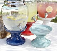 Beverage Dispensers With Stand   Pottery Barn Knockoff this idea by purchasing a plate and bowl at the dollar store and gluing them together for stability.  Will be doing this for my glass beverage server.