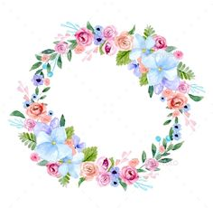 Buy Wreath of Flowers in Watercolor by on GraphicRiver. wreath of flowers in watercolor style with white background Wreath Watercolor, Watercolor Leaves, Floral Watercolor, Watercolor Wedding, Floral Frames, Flower Bouquet Drawing, Decoupage Printables, Nature Vector, Flower Circle