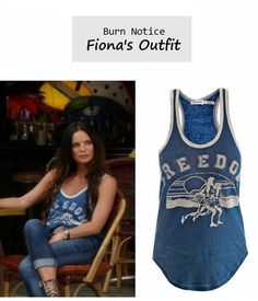 "On the blog: Fiona's (Gabrielle Anwar) ""Freedom"" muscle tank 