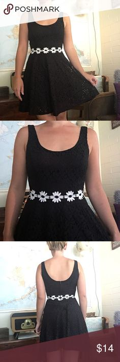 "Black Lace Dress With Daisy Chain Belt Cute black lace dress with multiple layers easy to wear with a strapless bra. Zipper side closure. White Daisy belt attached to dress. Little to no stretch. Bust pit to pit 16"" waist laying flat 12.5"" across heart soul Dresses"