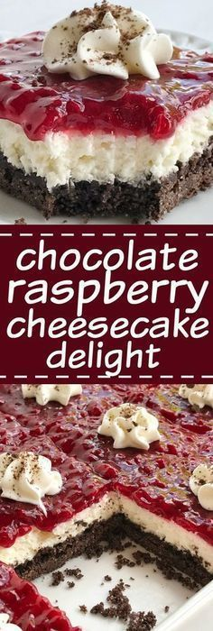 Chocolate raspberry cheesecake delight is an almost no-bake dessert with three delicious layers! A chocolate graham cracker crust, creamy sweet cheesecake middle, and topped with raspberry pie filling. (no bake oreo cheesecake graham crackers) 13 Desserts, Delicious Desserts, Dessert Recipes, Baking Desserts, Bar Recipes, No Bake Summer Desserts, Potluck Desserts, Creative Desserts, Pudding Desserts