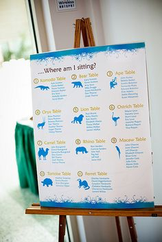 Zoo themed wedding seating chart. Awesome.