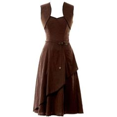 Steampunk dress ❤ liked on Polyvore featuring dresses, steam punk dress, steampunk dress and brown dresses
