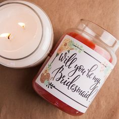 Ask your girls with candles of your choice! We provide the labels you just need to put them on your favorite candles. - bridesmaid candles - bridesmaid proposal - bridesmaid gift ideas - creative wedding ideas - will you be my - creative bridesmaid gift ideas