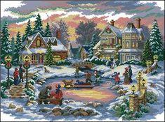 Oggi vi presento un interessante e bellissimo schema gratuito a punto croce a tema paesaggio natalizio. Lo schema descrive un gradevole paesaggio innevato con bimbi che giocano sulla neve.