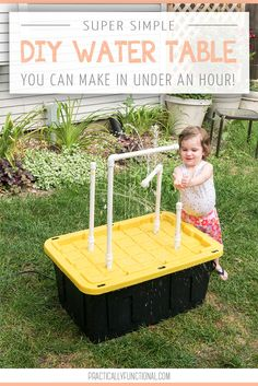 How to make your own DIY water table that sprays water with fun fountains in under an hour! This is a quick and easy summer DIY project that will bring hours of outdoor fun! fun water DIY Water Table With Fountains And Sprayers Water Table Diy, Sand And Water Table, Sand Table, Water Tables, Backyard For Kids, Diy For Kids, Backyard Ideas, Backyard Games, Kids Fun