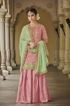 Pink Dola Silk Palazzo Suit Kimora Vol 4 By Kimora Fashion Indian Attire, Indian Wear, Indian Outfits, Party Wear Dresses, Bridal Dresses, Casual Dresses, Long Dresses, Sharara Suit, Salwar Kameez