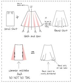 How to make a flared skirt from a pencil skirt pattern