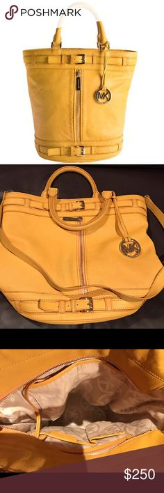 """Michael Kors Kingsbury bag-yellow large-perfect! Beautiful leather bucket kingsbury bag with handles and also shoulder strap. Large, 15. 1/2""""wide x 12"""" high and 9"""" deep. In fantastic shape, no damage. Tons of pockets too! MICHAEL Michael Kors Bags Totes"""