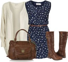 Super Cute Navy Dress With Brown Leather Handbag & Riding Boots