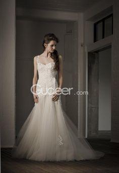 Elegant One Shoulder Straps Mermaid Backless Tulle Lace Wedding Dress