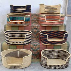 basket and crate Braided Dog Beds from the Baba Tree Basket Co. basket and crate Braided Dog Beds from the Baba Tree Basket Co. Cute Dog Beds, Pet Beds, Best Dog Beds, Doggie Beds, Dog Milk, Dog Furniture, Tag Design, Dog Houses, Dog Accessories