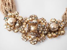 INCREDIBLE Signed Miriam Haskell Seed Bead, Pearl, AB Rhinestone Choker Necklace