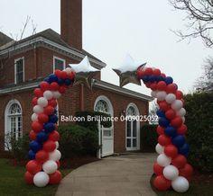 """4th of July Celebrations"" #balloncolumns #entranceballoondecor #foilstars #americanembassy #4thofjuly #cbr #act #canberraballoons #BalloonBrilliance"