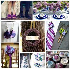 indigo and violet wedding colors | Aisle Flower , Cake , Cupcakes
