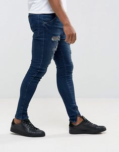 Buy SikSilk Skinny Fit Drop Crotch Jeans With Distressing at ASOS. With free delivery and return options (Ts&Cs apply), online shopping has never been so easy. Men Street Look, Street Wear, Super Skinny Jeans, Skinny Fit, Drop Crotch Jeans, Ripped Jeans, Men's Jeans, Mens Clothing Styles, Men's Clothing