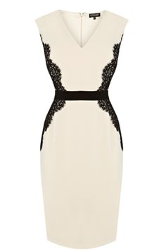 Pretty Lace Overlay Pencil Dress - I just tried on pencil dresses recently and they are very flattering. I think this lace detail would also be flattering and I love cream.