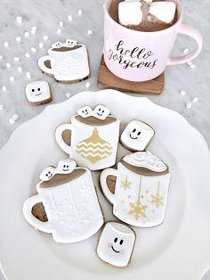 Fun, wintery cuteness on a plate. Hot Chocolate cookies.