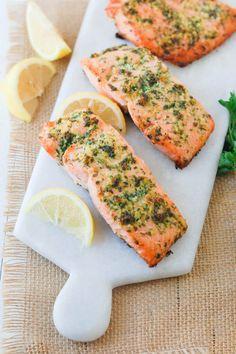 Clean Eating Salmon Recipe with a Lemon Garlic Herb Crust