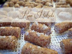 Raw Pretzels...made from almond pulp.  (Great use of almond pulp for those who make their own almond milk.)