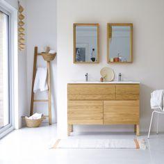 Waschtisch aus Eiche mit Keramikwaschbecken 120 Easy Oak Vanity Unit, Oak Bathroom Vanity, Vanity Cabinet, Bathroom Furniture, Small Bathroom, Family Bathroom, Solid Wood Furniture, Cool Furniture, Sink Units