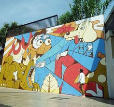 Greediness. Finished mural for the 12+1 project @contorno_urbano . Big thanks to the team!!  @david_b_rock  @pinkmercury  Assistant @zurik_1 , materials @montana_colors #barcelona #hospitalet #graffiti #streetart #murales #muralsdaily #illustration #illustracion #pintura #urbanart #streetartdaily #arteurbano #fernandoleon #arnhem #montanacans #graphic #design