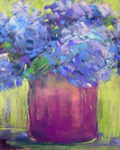 pastel painting   Hydrangeas Pastel Painting 8x10, original painting by artist Karen ...