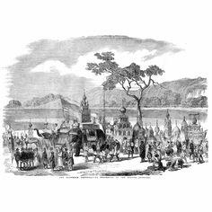 LUCKNOW,INDIA-The-Muharram-Festival-Procession-of-the-Tazzias-Antique-Print-1857