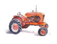 Red Tractor Art Print, 1948 Allis Chalmers Tractor Painting, Modern Farmhouse Decor, Farm Tractor De