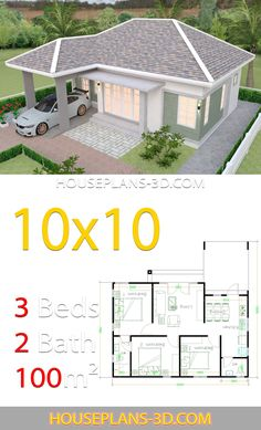 House Design with 3 Bedrooms Hip roof - House Plans House Design with 3 Bedrooms Hip roofThe House has:-Car Parking and garden-Living room,-Dining Bedrooms, 2 bathroom House Layout Plans, Garage House Plans, Dream House Plans, House Layouts, Dream Houses, Unique Small House Plans, Affordable House Plans, Modern Bungalow House, Bungalow House Plans