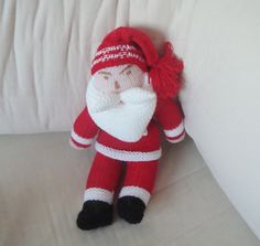Christmas Sale  Hand Knitted Toys  Christmas Santa by earflaphats, $62.00