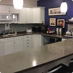 The break room at our Kalamazoo training center.  Note the backsplash and the pick up of color on the accent wall.