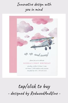#ad Up & Away   Vintage Airplane Birthday Party Invite #first #birthday #party #invitations #cute #firstbirthday #1stbirthday #invitations #firstbirthdayideas #affiliatelink Little Girl Birthday, Baby Birthday, First Birthday Parties, It's Your Birthday, Birthday Party Themes, First Birthdays, Airplane Kids, Airplane Party, Vintage Airplanes
