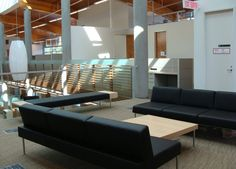 Bridge 3 seater lounge, table, and bench installation in Surrey, BC designed by B+H Architects