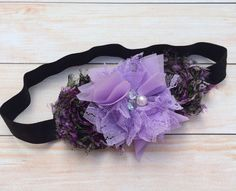 Flower Headband  Purple and Black Headband  Toddler by HaleysBows