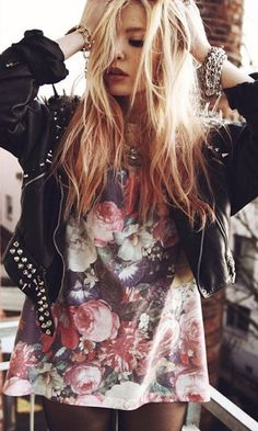 Florals + studded leather jackets .. just enough girl just enough rock