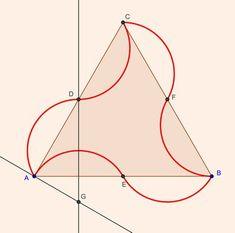 Interior and exterior arcs, made by equa-distance division of a perfect triangle.Arte y Matemáticas: La Pajarita Nazarí Geometry Art, Sacred Geometry, Geometric Designs, Geometric Shapes, Tessellation Patterns, Pop False Ceiling Design, Tesselations, Islamic Art Pattern, Geometric Drawing