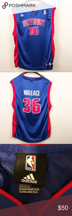 d8b9f05b7 Adidas NBA Boys Ben Wallace Pistons B-ball Jersey Detroit Pistions Ben  Wallace Basketball Jersey
