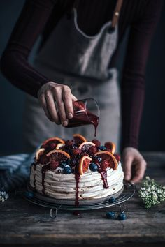 Get the recipe for a very delicious blood orange-berry pavlova, with a wonderful berry sauce on top of it on our blog now.