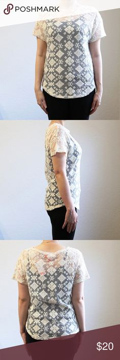 """Jeo Fresh Cream Lace Top This beautiful new with tag cream women's Top is perfect for any occasion. Top has beautiful patterns and would be adorable with any color pants, shorts or skirt. Measurements: shoulders 22"""", sleeve length 4"""", top length in back 24"""". Jeo Fresh Tops Blouses"""