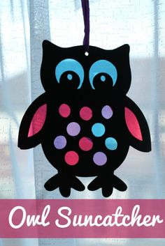Stained glass style owl sun catcher craft for kids