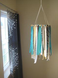 DIY ribbon mobile (great for nusuries, showers, or big kid rooms)