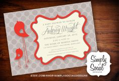 Baby Bird Theme Baby Shower Invitation Grey and Red with Polka Dots.