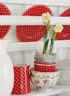 vibekedesign polka dots red and white in the kitchen