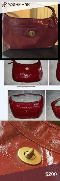 "COACH XL Red Patent Ergo Hobo - mint cond - #12887 Coach Ergo Large Hobo in Luxurious Lightweight Red Patent Leather! This is the largest size complete with oversize coach embossed patent leather hangtag, Absolutely FABULOUS!  Pictured is the only marking on the bad - white small scuff located on bottom of bag.  Zip-Top Closure w/ Long Leather Pull Interior Zip pocket Inner Key Ring for Accessory, Keyfob or Wristlet, etc. 25"" Ergo Strap with 9"" drop Large Leather COACH Embossed Hangtag…"