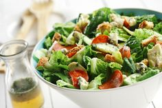 CanolaInfo | Recipes & Cooking |Romaine-Tarragon Salad with Blue Cheese Vinaigrette |  Nancy Hughes | Canola Oil's quality nutritional profile makes an excellent choice for healthful salad making, especially when fats are added, such as cheese. |