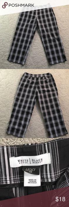 WHBM✨Cropped Pants Black, white window pane. Legacy. Size 8R White House Black Market Pants